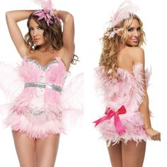 Sexy Womens Adult Pink Flamingo Bird Animal Feather Sequin Trim Showgirl Costume