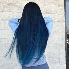 41 Bold and Beautiful Blue Ombre Hair Color Ideas - blue hair - Hair Styles Hair Dye Colors, Ombre Hair Color, Cool Hair Color, Color Streaks, Ombre Hair Dye, Blue Hair Colour, Black Hair With Color, Pastel Ombre Hair, Indigo Hair Color