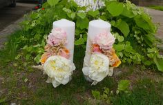 "Lumanare tip ""block"". Pillar Candles, Bouquets, Wedding, Mariage, Bouquet, Bouquet Of Flowers, Weddings, Marriage, Taper Candles"