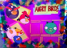 This is the Angry Birds poster I made for a children's Halloween Carnival. The feathers were 1 dollar. Popsicle sticks about 30 cents. Glue sticks, another dollar. Accidentally gluing feathers to myself...priceless. Oh yeah, and making children really happy. That's priceless too. :)