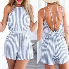 Summer Dresses Fashion Sexy Backless Stripe Jumpsuit Rompers - Boutique Page Mode Outfits, Casual Outfits, Fashion Outfits, Style Fashion, Short Outfits, Fashion Women, Cute Summer Outfits, Spring Outfits, Summer Dresses