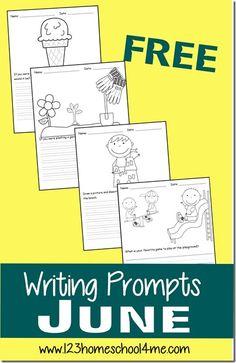 FREE June Creative Writing Prompts for Kids Kindergarten - 4th Grade #writing #homeschool #summerschool #creativewriting