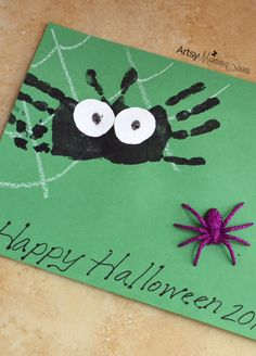Not-so-scary Handprint Spider Art Project for Preschoolers Not-so-scary Handprint Spider Craft for Preschoolers – Halloween Art Project Halloween Crafts For Toddlers, Halloween Art Projects, Toddler Crafts, Diy For Kids, Spider Art, Spider Crafts, Crafts To Do, Fall Crafts, Handprint Christmas Tree