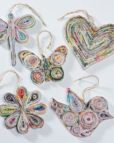 ornaments ... recycled paper from magazines ... rolled and used to make and fill icon images ...