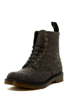"Brown & Black Tweed ""Becket"" Boot, by Doc  Marten. Men's Fall Winter Fashion."