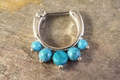 16 Gauge Turquoise Septum Ring Clicker Daith Ring Nose Piercing