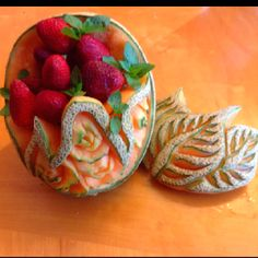 A cantaloupe Faberge egg for Easter by Carl Jones. Filled with strawberries.