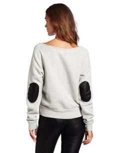 TEXTILE Elizabeth and James Women's Patched Perfect Boat Neck Sweatshirt