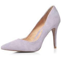 Dorothy Perkins **Ravel Lavender Suede Court Shoes ($119) ❤ liked on Polyvore featuring shoes, pumps, purple, purple pointy toe pumps, purple high heel pumps, pointy-toe pumps, stiletto pumps and pointy toe stiletto pumps
