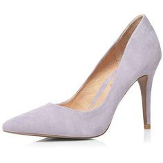 Dorothy Perkins **Ravel Lavender Suede Court Shoes ($119) ❤ liked on Polyvore featuring shoes, pumps, purple, purple pointy toe pumps, purple high heel pumps, pointy-toe pumps, stiletto pumps and pointy toe stiletto pumps