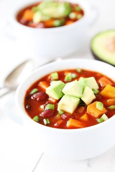Slow Cooker Vegan Sweet Potato Chili Recipe on twopeasandtheirpod.com Our family loves this chili and it's easy to make too!