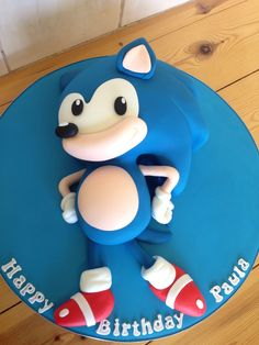 Classic novelty Sonic the hedgehog cake Sonic Birthday Cake, Birthday Games, Baby Birthday, Bolo Sonic, Sonic Cake, Video Game Cakes, Cake Videos, Sonic The Hedgehog Cake, Cupcake Cookies