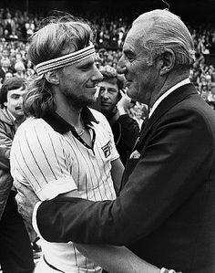 Fred Perry congratulates Bjorn Borg at Wimbledon in 1978