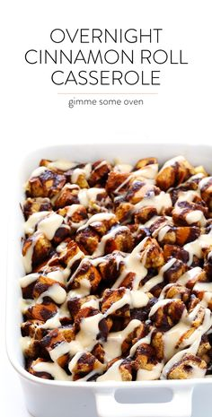 This Overnight Cinnamon Roll Casserole recipe is ultra-easy to make, drizzled with a cream cheese frosting, and SO incredibly delicious! | gimmesomeoven.com