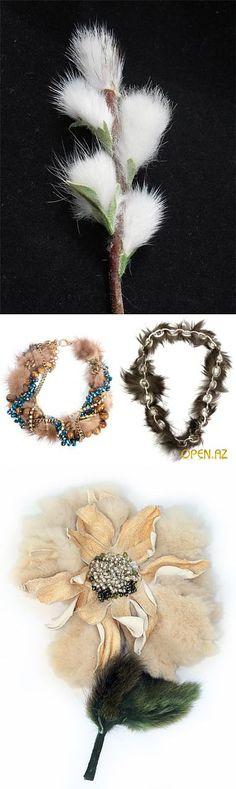necklace, collier, цветы, броши, колье из меха.