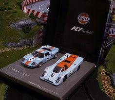 Slot car, Flyslot, Fly, Team Gulf Set, Ford GT40, Porsche 917K