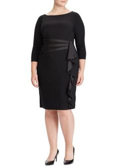 American Living™ Women's Plus Size Satin-Trim Ruffled Dress - Black - 14W