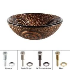 KRAUS Luna Glass Vessel Sink in Brown with Pop-Up Drain and Mounting Ring in Oil Rubbed Bronze, Multicolor Glass Bathroom Sink, Modern Bathroom Sink, Bathroom Ideas, Bath Ideas, Master Bathroom, Bathrooms, Basin Design, Glass Vessel Sinks, Wall Mount Faucet