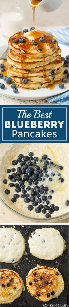 Blueberry Sour Cream Pancakes - These pancakes are DREAMY! Fluffy ...