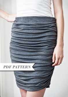 Inspiration: gathered skirt. Solves the problem of a jersey pencil skirt being too clingy