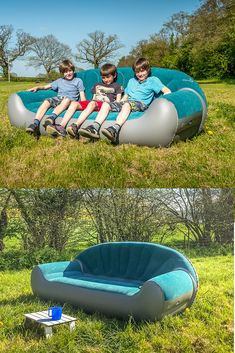Taking the sofa camping! - Get Out With The Kids This inflatable camping sofa is a great hit with the kids! Camping Places, Camping Glamping, Camping Life, Camping Gear, Outdoor Camping, Backpacking Gear, Cool Camping Gadgets, Camping Lunches, Camping Hammock