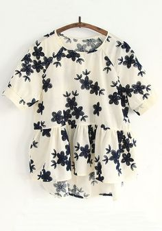 Apricot Flowers Embroidery Short Sleeve Blouse