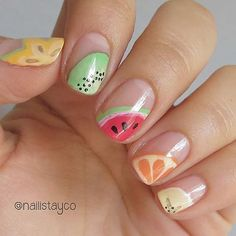 Let your nails steal the show with fresh and juicy fruit nail art designs. Move on and on to find the best of the best from these 57 truly unique ideas! Fancy Nails, Trendy Nails, Diy Nails, Cute Nails, Glitter Nails, Pink Glitter, Fruit Nail Designs, Cute Nail Designs, Summer Nail Designs