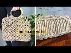 MACRAMÉ |COMO HACER UN BOLSO DE YUTE CON BASE \ MACRAME JUTE BAG WITH BASE - YouTube Macrame Curtain, Macrame Bag, Macrame Knots, Micro Macrame, Crochet Pouf Pattern, Jute Crafts, Jute Bags, Macrame Tutorial, Crochet Handbags