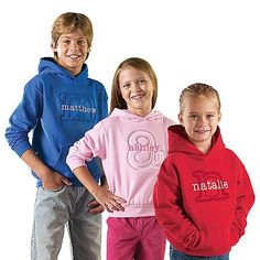 Embossed Initial Youth And Toddler Hoodies