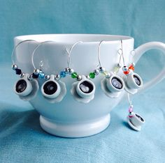 Espresso Cup Wine Glass Charms, Coffee Mug Charms, Party Favor, Birthday Decoration, Hostess Gift, Champagne Charms, Cappuccino, Breakfast by KatarooClay on Etsy