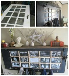 Turn am old French door into a hallway shelf-picture-coat hanger. I would put a sconce on both ends for lighting, too!