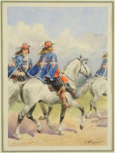 MOUSQUETAIRES DE LA 1ère COMPAGNIE, MAISON MILITAIRE DU ROI, ANCIENNE MONARCHIE, by Lucien Rousselot.