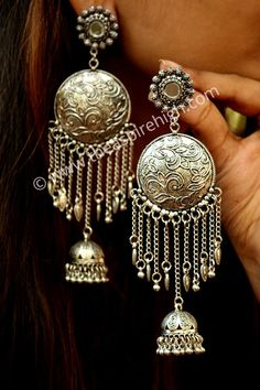 Indian Traditional Jewellery for Stylish Women and Girls by SP Jewels Tribal Dangling Jhumki embedded stones