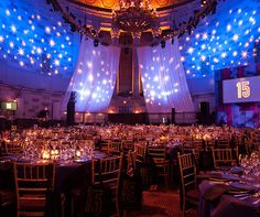 The Gotham Hall in New York has been transformed into a purple wonderland that underneath sky of stars.