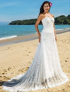 Sheath/Column Sweetheart Chapel Train Lace Beach Wedding Dress