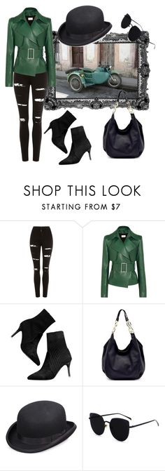 """""""Green Leather"""" by rock-my-hillbilly ❤ liked on Polyvore featuring Topshop, Thierry Mugler, Scala and leatherjackets"""