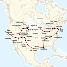 map of the route for best of the usa toursan fran to san fran