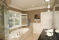 Traditional Master Bathroom with Soapstone counters, Master bathroom, Crown molding, High ceiling, frameless showerdoor