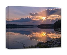 """Lake Canvas Wall Art Sunset Photography Kiser Lake Ohio. In this sunset photography canvas the beauty of this calm reflection of the sunset is perfect. The stillness of the water gives a feeling of peace. The pale and soft colors show off the glow of the setting sun. This calm, serene, and tranquil feeling is found at Kiser Lake State Park in Ohio. ----- Gallery wrapped canvas print ready to hang right out of the box. Size 11""""x14""""x1.25"""". Larger sizes available under options."""