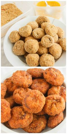 Crispy Deep-Fried Breaded Mushrooms   http://thecookiewriter.com   @thecookiewriter   This easy, homemade deep fried breaded mushroom recipe can only achieve that crispiness by frying: not baked! Pair with you favourite garlic dipping sauce and these caps will surely wow your guests!
