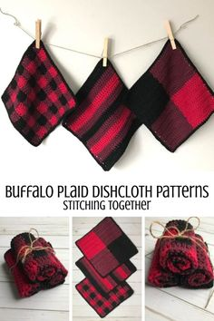 Crochet Projects Totally trendy buffalo plaid crochet dishcloth set that you can make with this free pattern! Wouldn't the buffalo plaid dishcloths make an amazing housewarming gift? Crochet Gratis, Free Crochet, Crochet Kitchen, Crochet Home, Plaid Crochet, Knit Crochet, Crochet Simple, Double Crochet, Confection Au Crochet