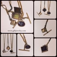 Resurrected Victorian chain and fobs in these beautiful necklaces. Elements consist of c1860-1890 goldfilled, gold-topped, glass and carved agate. L to R in upper right photo: $165, $225 with $495 locket, $495. Call to purchase. #giltjewelry #victorian #fob #intaglio #vintagenecklace #locket #victorianlocket #classic