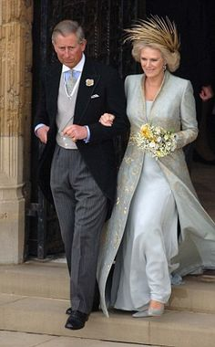 Camilla & Prince Charles following their marriage blessing at St. George's Chapel, Windsor in 2005.