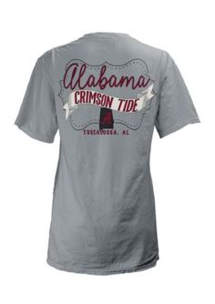 Royce Women's University Of Alabama Noah Comfort Colors Short Sleeve Tee - Gray - Xl