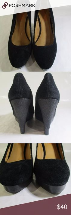 Michael Kors - Women's Black Suede Shoes - Wedge Description:  Michael Kors Size 8M Women's Black Leather Shoes with Wedge Heels  Measurement:  8 x 3 x 5 inches  Color:  Black  Material:  Leather Michael Kors Shoes Wedges