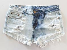 Vtg BLEACHED DISTRESSED Cut Off FRAYED Denim Shorts via Etsy