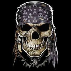 Badass Jewelry Pirate Skull Men's Black T-shirt