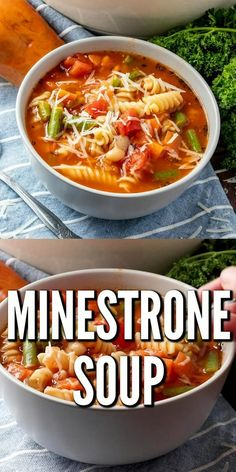 This easy homemade Minestrone Soup is full of vegetables, pasta and a rich, flavorful tomato-baed broth. Perfect for freezing too! Chicken Pasta Recipes, Easy Soup Recipes, Beef Recipes, Dinner Recipes, Cooking Recipes, Healthy Recipes, Heathly Soup Recipes, Lasagna Recipes, Lasagna Soup