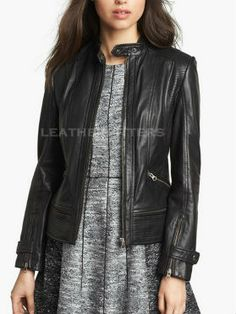 Women leather biker jacket Made from lamb leather this leather jacket is a complete biker style leather jacket.