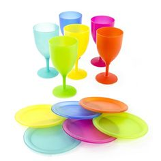 Imperial Home Reusable Colorful Plastic Picnic Set with Plates and Goblets (6 Piece) (12 Piece), Multi